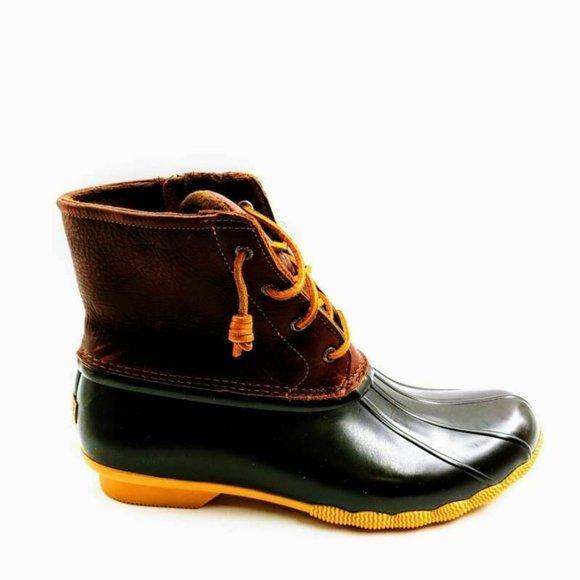 Sperry Womens Saltwater Duck Boots Brown Black 12